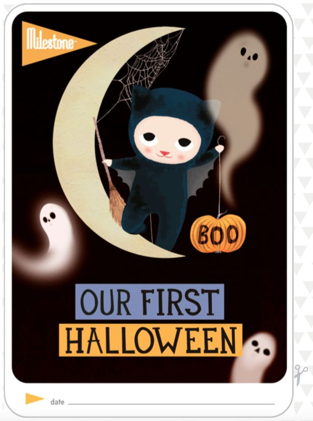 'OUR FIRST HALLOWEEN'  For all twins celebrating Halloween on the 31st of October for the first time, we've created this free printable 'Our First Halloween' photo card for you!  http://www.milestone-world.com/contents/uploads/downloads/263_1.milestone_printable_ourfirst_halloween_uspaper.pdf