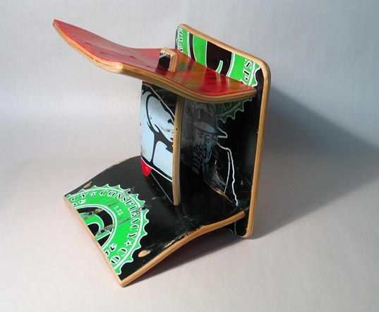 board games on etsy, green kids, eco kids, upcycled skateboard furniture, green toys, green kids furniture, skateboard chair