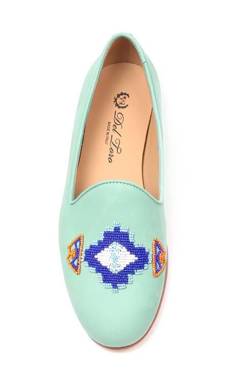 Turquoise Navajo Beaded Slipper by Del Toro for Preorder on Moda Operandi