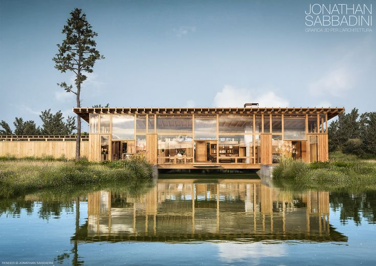 3D render inspired by a project we fall in love with -  render © Jonathan Sabbadini  #modeling #rendering #water #nature #home #wood #lake #architecture #bioarchitecture