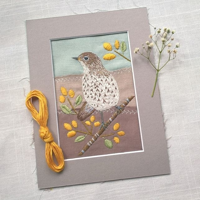 Finished Song Thrush (with a pop of orange berries).