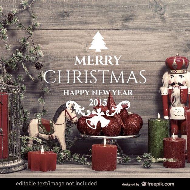 ビンテージクリスマスカード 無料ベクター