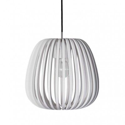 Abel, witte houten hanglamp, bamboe