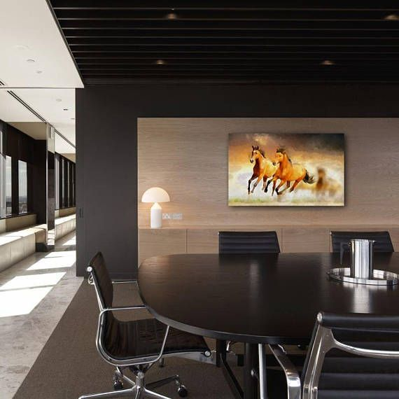 A Couple Of Bay Horses Canvas Large Art Painting Brown Etsy Office Interior Design Modern Office Design Office Design