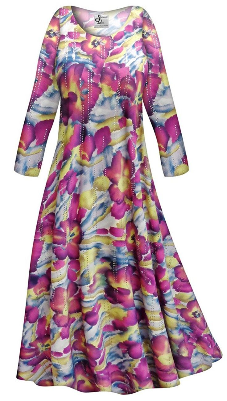 Purple and Lime Floral Slinky Plus Size Supersize Long Sleeve Maxi Dress LG >> Details can be found  : Plus size dresses