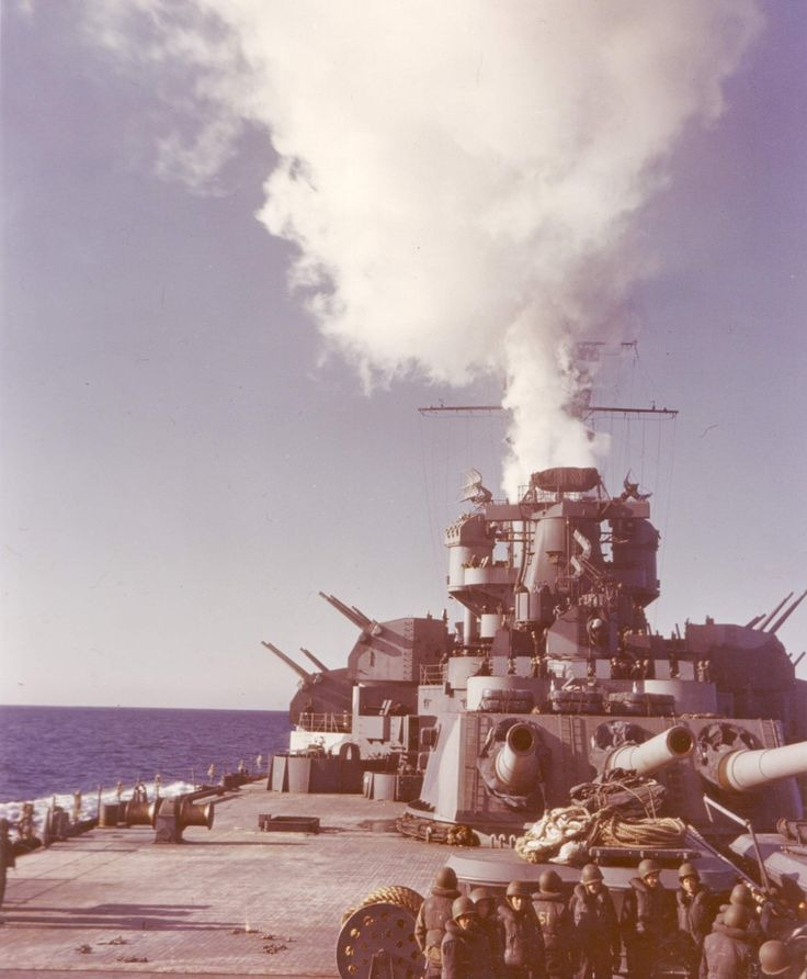View of USS Alabama from the fantail during her shakedown period, Casco Bay, Maine, United States, Dec 1942