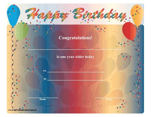 A festive happy birthday certificate with brightly colored balloons and confetti. Free to download and print