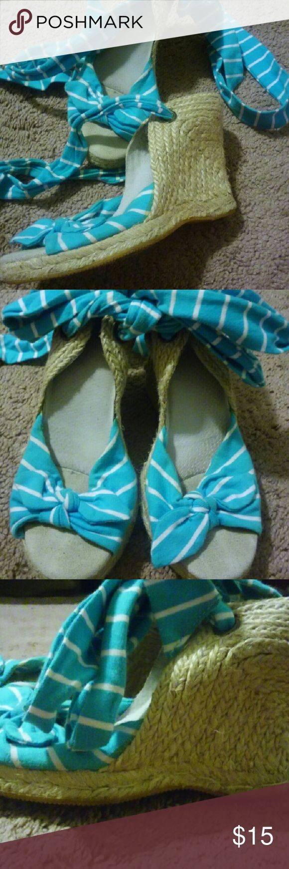 Old Navy Espardilles yhe wrap around your legs Turquoise and white striped sandals Old Navy Shoes Espadrilles