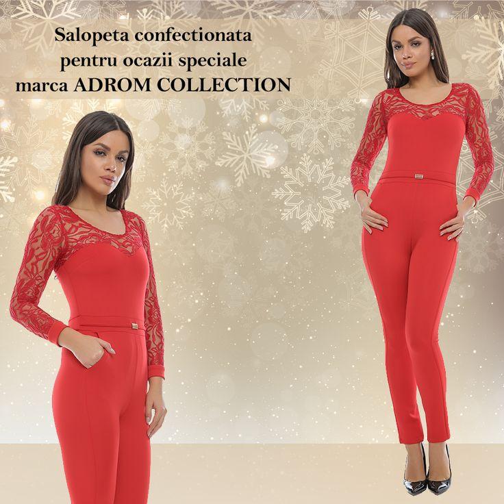 Salopeta P092 este un model nou, confecționat din jerseu și dantelă.  Bustul are aspect de corset, frumos combinat cu dantelă transparentă, pentru un plus de eleganță și rafinament. În talie prezintă o curea subțire, confecționată din același material, care scoate în evidență silueta feminină.  Pantalonul are un croi conic cu buzunare laterale.   Pentru comenzi online: http://www.adromcollection.ro/pantaloni/414-salopeta-angro-p092.html