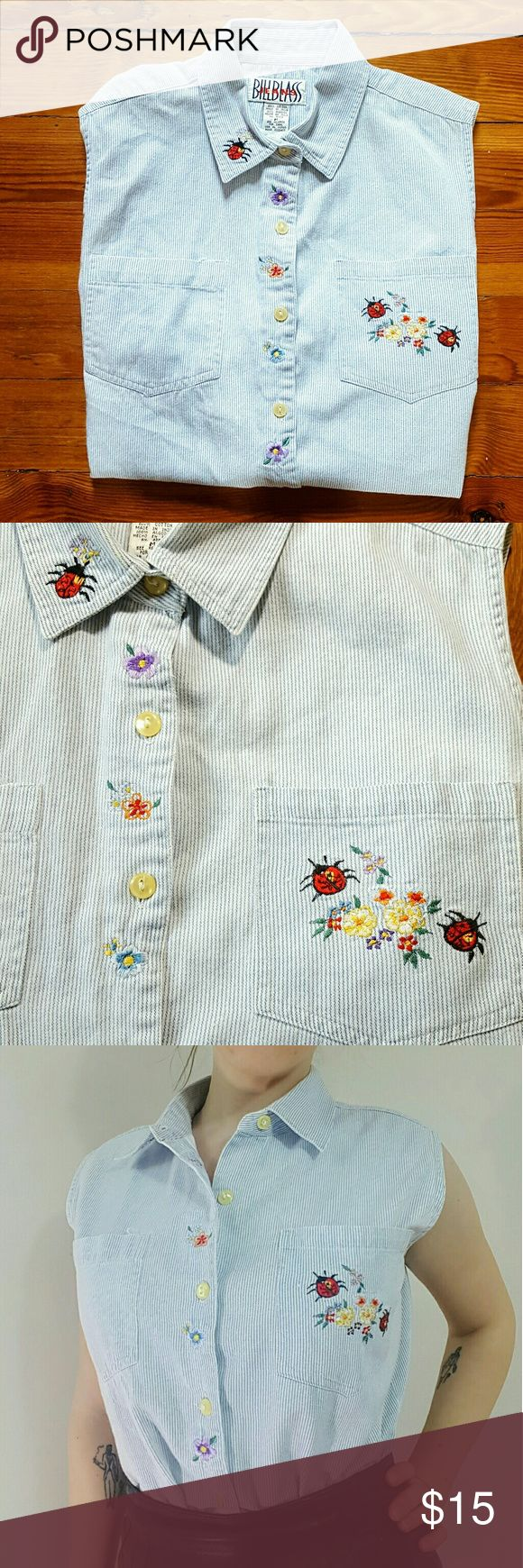 """Vintage Embroidered Lady Bug Top Vintage embroidered pinstripe top by Bill Blass Jeans. With Lady Bugs and flowers! 100% cotton. Marked a size M- 20.5"""" armpit to armpit, 24"""" long at longest point. Excellent condition. #billblass #ladybugs #roses #floral #90s Vintage Tops"""