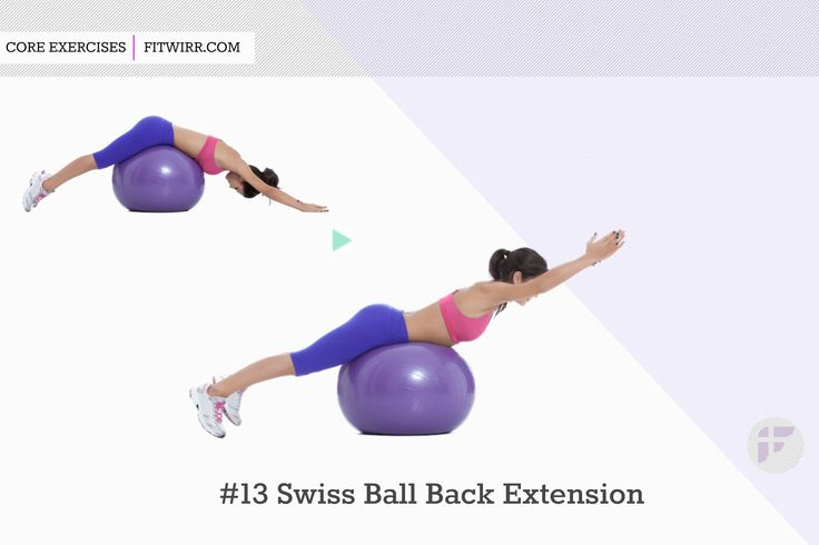 Swiss ball back extension exercise for lower back / Lie face down with your hips resting on a stability ball and your toes touching the floor and feet against a the wall. Place your hands behind your head. Squeeze your glutes and lift your torso up until your body forms a straight line. Hold for 1-2 seconds. Slowly return to start. Do 8-12 reps.
