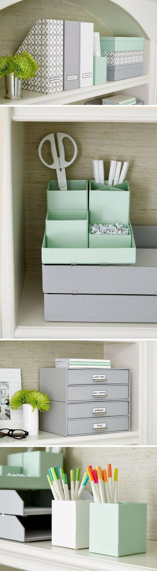 Our colorful Stockholm Collection lets your create easily accessible, yet concealed storage for office supplies. Mix and match colors and patterns, and show off your style.