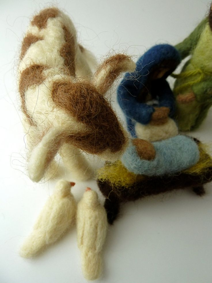 Friendly Beasts Nativity Set, Felted Nativity,