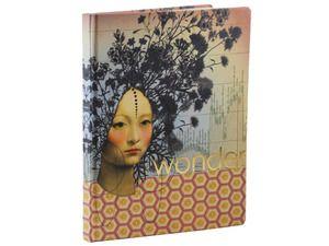 Notitieboek met goudfolie opdruk op hard-cover, met gelinieerde en blanco pagina's, vierkante rug. Formaat ca. 18 x 22 cm
