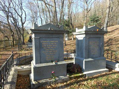 Das Grab von Charles de Ligne, man nannte ihn auch den rosenroten Prinzen. Friedhof  Friedhöfe, Cemeteries, Wien, Vienna, Kahlenberg, Waldfriedhof, Wiener Kongress