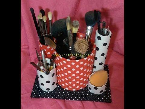 DIY makeup organizer from tin box and toilet paper roll ## kendin yap ## makyaj fırçaları organizer