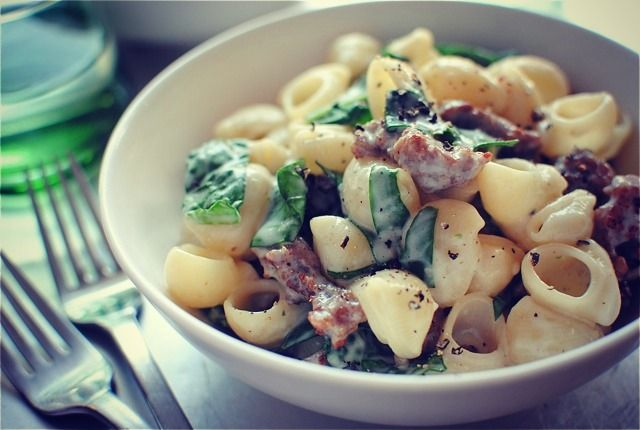 Creamy Pasta with Italian sausage & Spinach