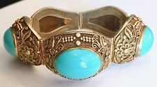 Vintage Chinese Export Vermeil Silver Bracelet with Turquoise Stones Orig. Box