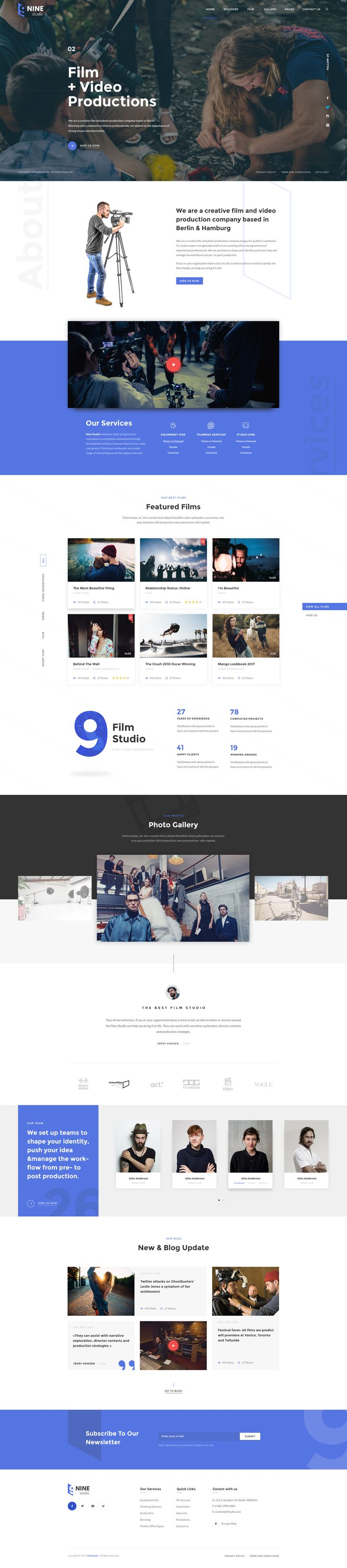 Here comes the most beautiful film maker PSD template ever. Nine Studio has 05 stunning homepages, coming along with many other gorgeous layouts of company introduction, project and blog… Buy Nine Studio today and make your fabulous film maker theme!!!