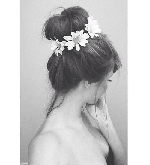 updo, flower, brunette