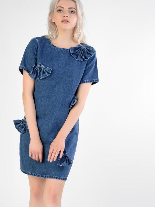 Denim bow detail dress