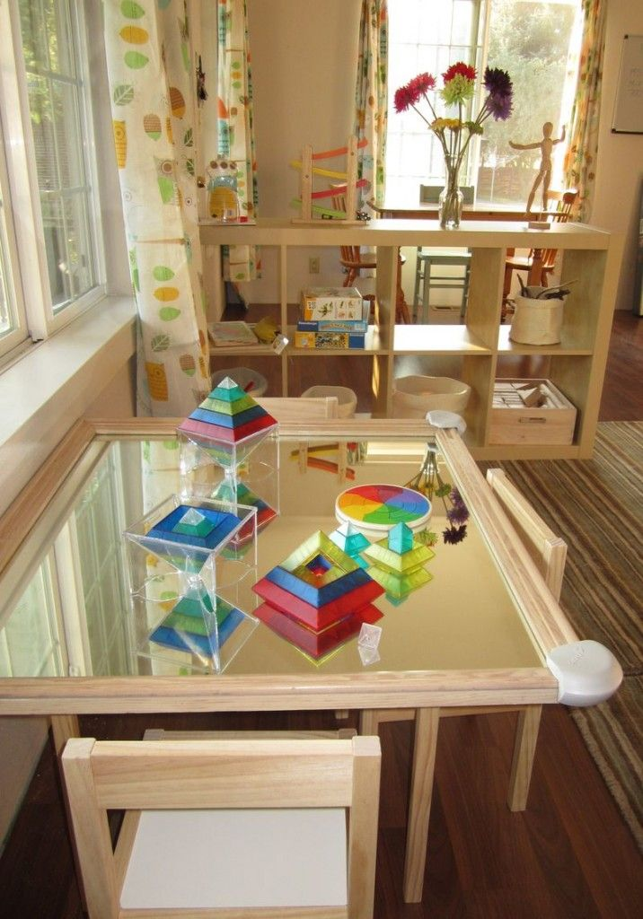 These mirrored table tops are so stunning for exploratory play!