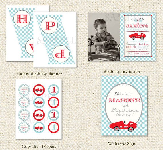 Auto da corsa  fai da te di compleanno di LollipopPrints su Etsy