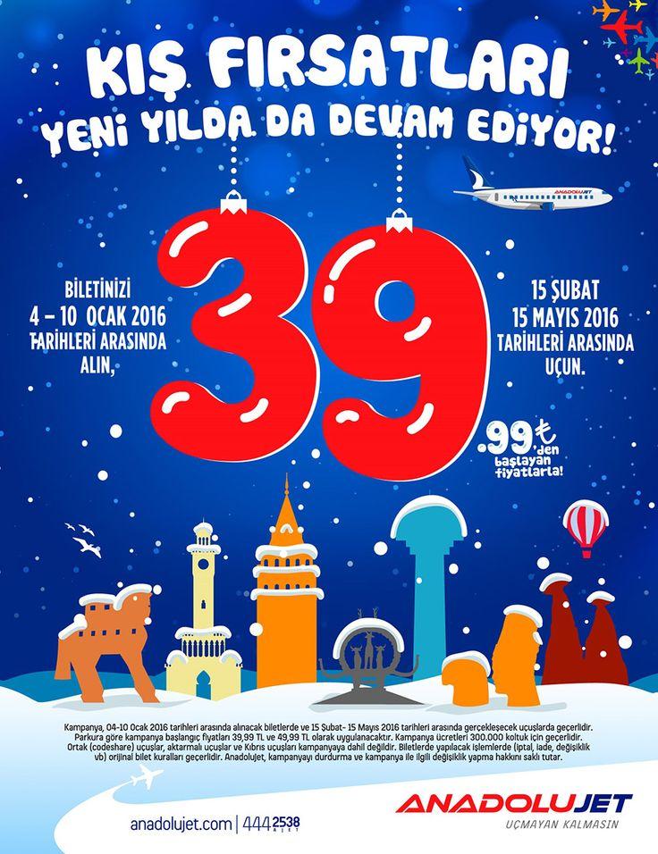 Anadolujet 39-99 TL Uçak Bileti Kampanyası Ocak 2016