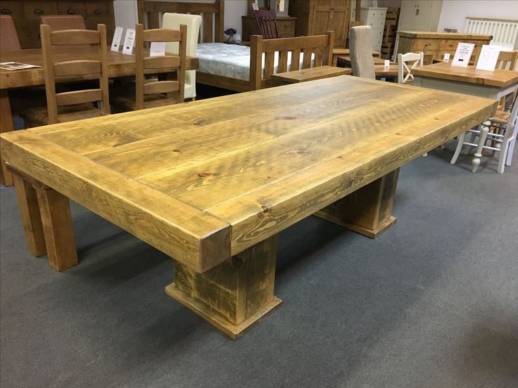 8' Butchers table with a cube base. Benches, Sideboards, Bookcases all made to match. We will help you create a look you will love! www.cobwebsfurniture.co.uk