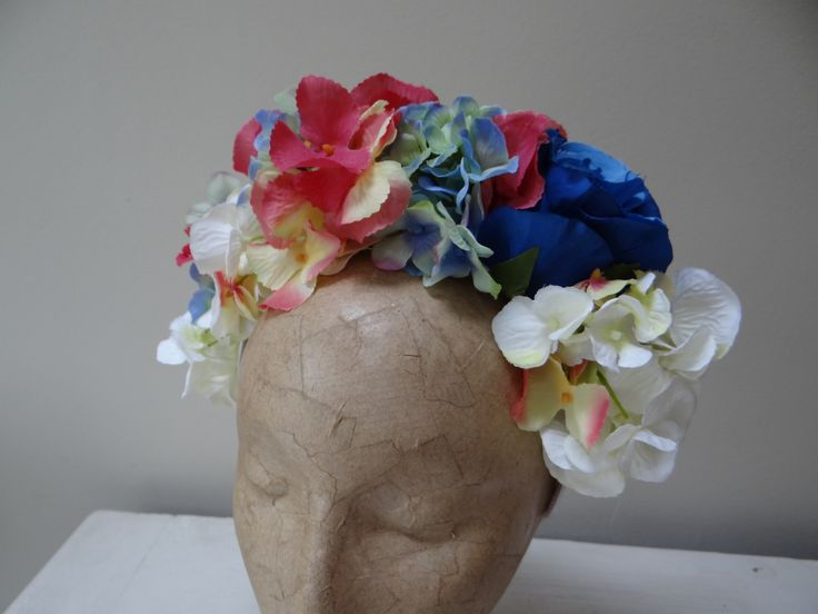 multi coloured hydrangea flower crown https://www.etsy.com/uk/shop/Rosadior?ref=hdrwww.rosadior.co.uk  www.etsy.com #bridalhair #weddinghair #flowercrowns #fascinators #roses #vintagehair #vintage #retro #vintagelife #boho #hairaccessories #birdcageveil