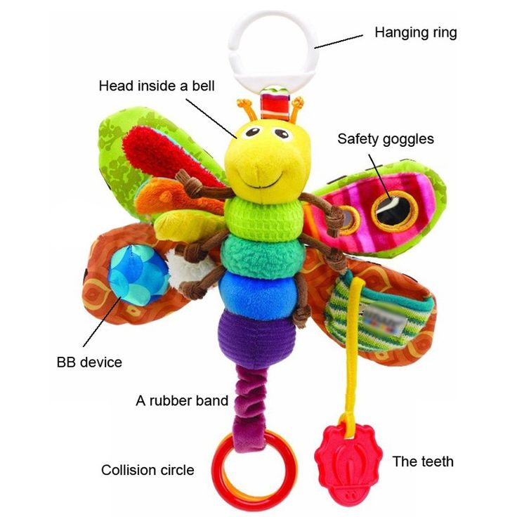 Babys' Toy Fashion bed around new Baby mobile Musical Inchworm Plush toy toddler Infant kids toys butterfly Wrist Rattle