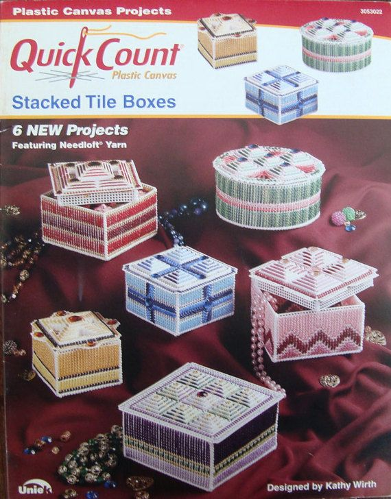 Plastic Canvas Trinket Box Pattern/ Quick Count Plastic Canvas, Stacked Tile Boxes Designed by Kathy Wirth/ Jewelry, Treasures, Potpourri