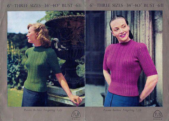 PDF Vintage 1940s Womens Ladies Jumper Knitting Pattern P & B