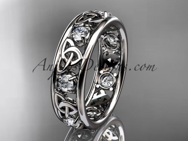 platinum celtic trinity knot wedding band, engagement ring CT7160B It has 7 genuine white saphires total weight of . 50ct. The width of the ring is 6.0mm and the thickness is 2.2mm. All sizes are avai