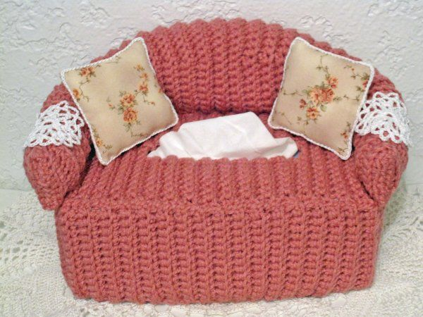 Cottage Crafts Crocheted Sofa Tissue Box Cover With