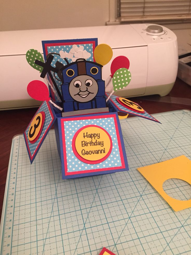 Thomas the train birthday pop up card, cricut,