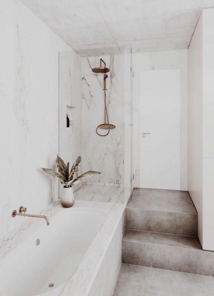 Modern Neutral Bathroom In 2020 All White Bathroom Modern Bathroom Design Bathroom Design