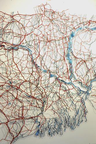 Matthew Picton: The Ganges and Brahmaputra Delta ~ Duralar, enamel paint, pins, 2006. 41″ x 44″ x 3″