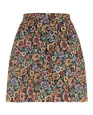 Black Pattern (Black) Black Orange and Purple Floral Tapestry Skater Skirt  | 288509009 | New Look - Black Pattern