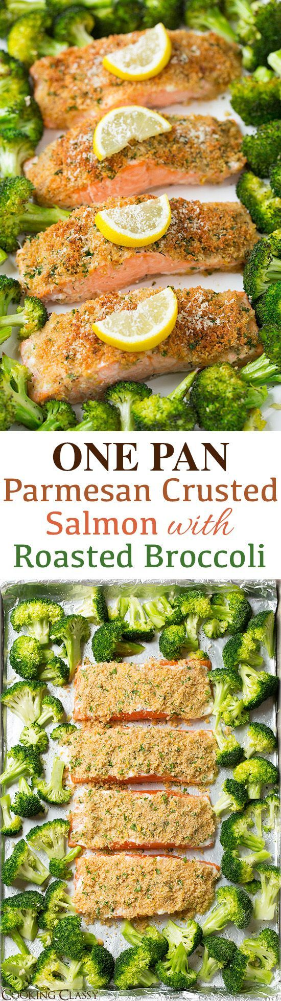 Parmesan Crusted Salmon with Roasted Broccoli - everything is roasted together on one pan so clean up is a breeze! Crust the Salmon with Sour Cream and Onion Quest Protein Chips for a delicious taste packed with protein and flavors!