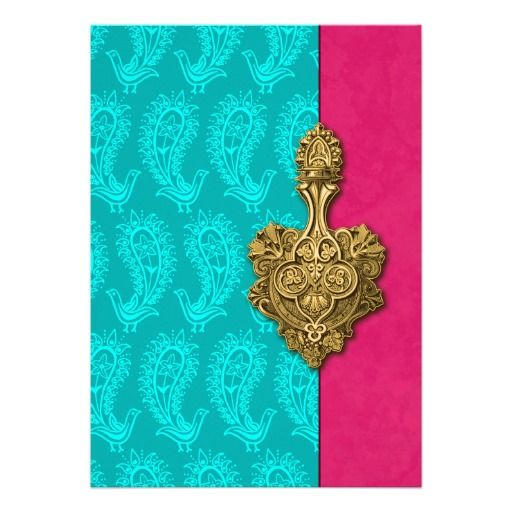 Aqua Paisley Peacocks Indian Wedding Invitation