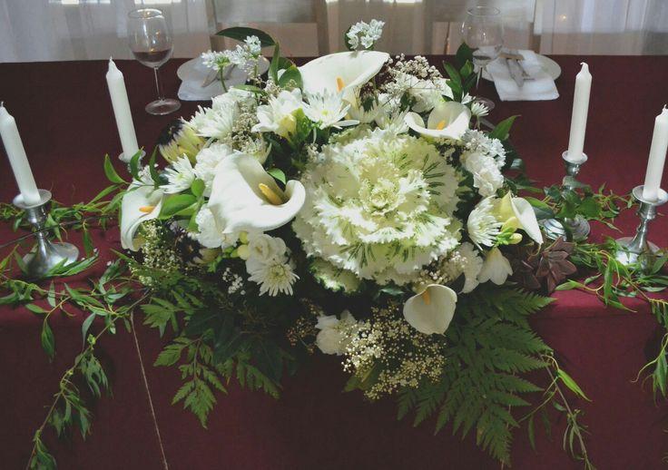 White cabbage flower centrepiece