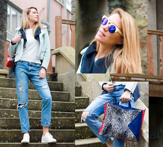 Gufo Wooden Sunnies, Twobet Animal Print Bag, Pull & Bear Baby Blue, Zara Ripped Jeans