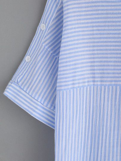 Blue Stripe Boat Neck Blouse With Buttons