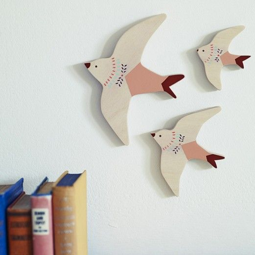 Folky Flying Swallows, Set of Three