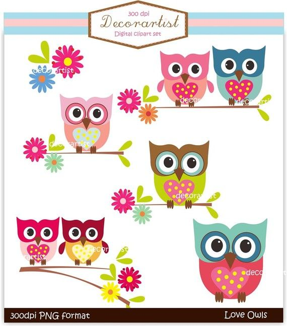 owl clip art, INSTANT DOWNLOAD Digital clip art owls, love owls