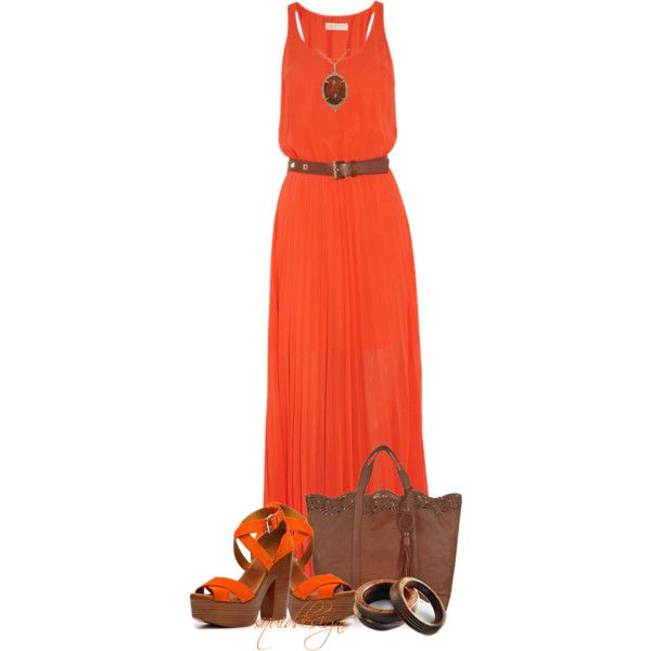orange dress, created by squiddesigns on Polyvore