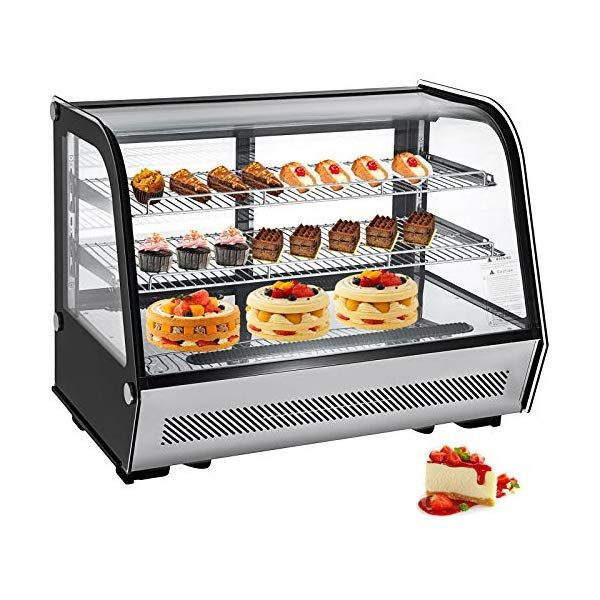 Vbenlem 5 65 Cu Ft Commercial Countertop Refrigerator Silver 160l Stainless Steel Bakery Dairy Display Cooler Case With Automatic Defrost Led Lighting Suit For Cake Roaster Shop Cafe Use In 2020 Bakery Display