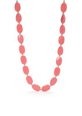 Kim Rogers Women Silver-Tone Lucite Coral Flat Oval Collar Necklace -  - No Size