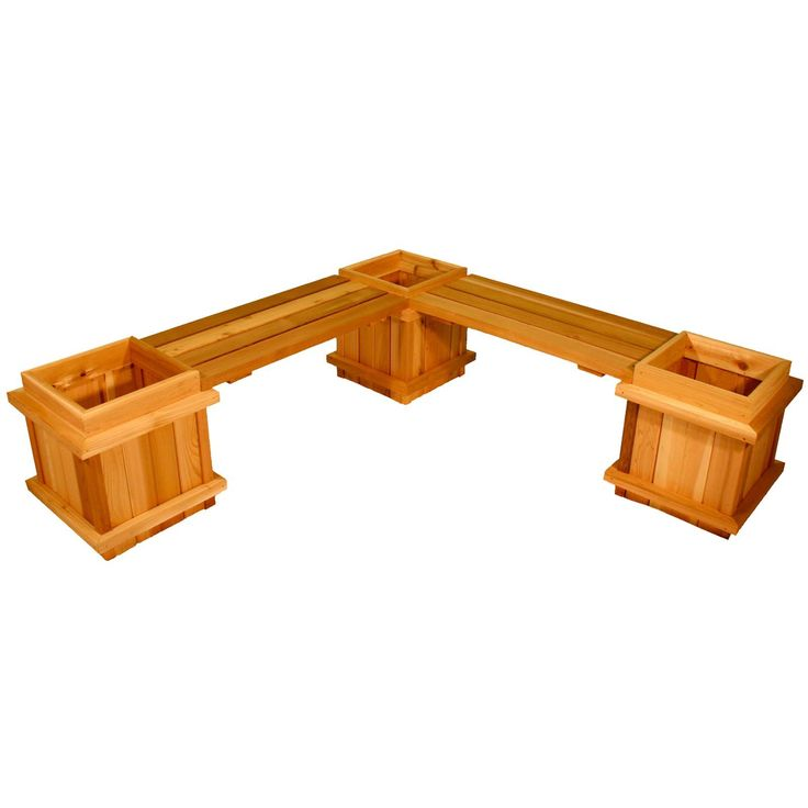 Square Cedar Wood 5-Piece Planter Bench Set | from hayneedle.com